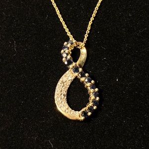 925 sterling Infinity onyx necklace